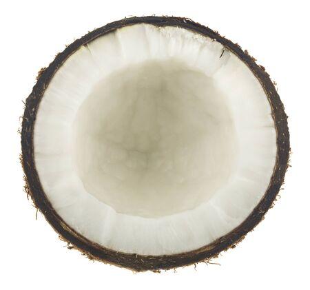 Kokosnoot geïsoleerd op een witte achtergrond. Uitzicht van boven. Stockfoto
