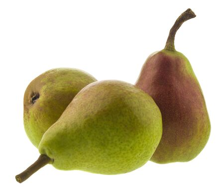 Ripe juicy pears Isolated on a white background. Healthy vegetarian food.