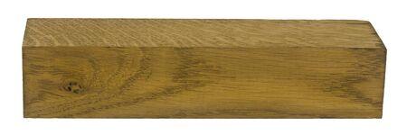 Blocco di legno, bordo isolato su sfondo bianco.