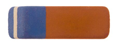 Eraser isolated on a white background close-up. View from above.