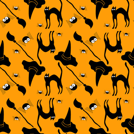 Halloween seamless background pattern with witch hat, cat and broom.