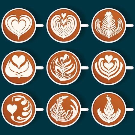 Set of Latte Art. White Cups. Vector illustration Vektorové ilustrace