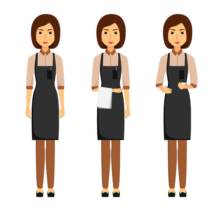 Waiters in apron isolated on white background. Taking order, standing with towel. Vector illustration 일러스트