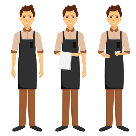 Waiters in apron isolated on white background. Taking order, standing with towel. Vector illustration Illustration