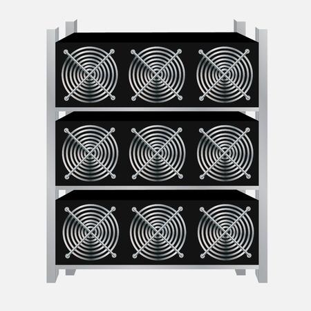 Cryptocurrency GPU-mijnbouwbedrijf. Vector illustratie