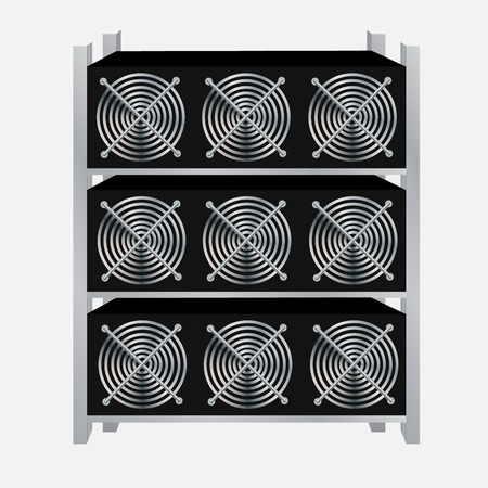 Cryptocurrency GPU mining farm. Vector illustration
