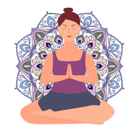 Plus size young women in lotos asana. Line yoga illustration. Namaste. Body love lifestyle healthcare illustration.