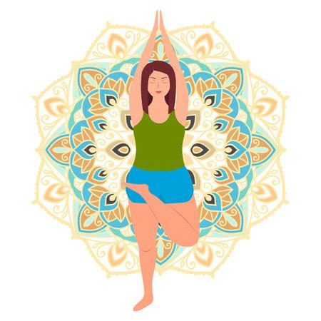 Plus size young women in half lotus asana. Line yoga illustration. Body love lifestyle healthcare illustration.