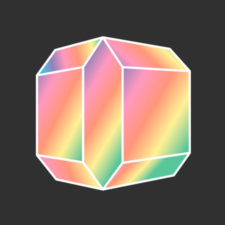 Cartoon vector diamond icon rainbow color isolated on dark background