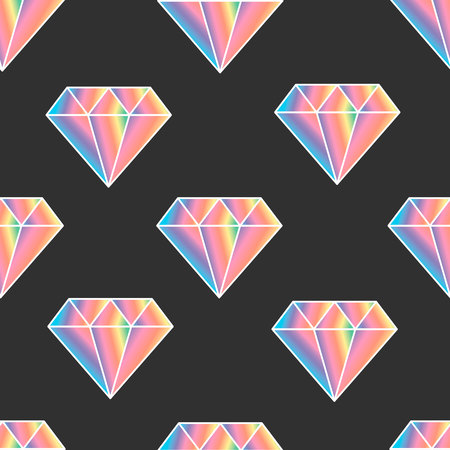Seamless pattern with cartoon vector diamond icon rainbow color on dark background