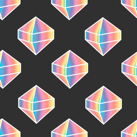 Seamless pattern with cartoon vector diamond icon rainbow color on dark background
