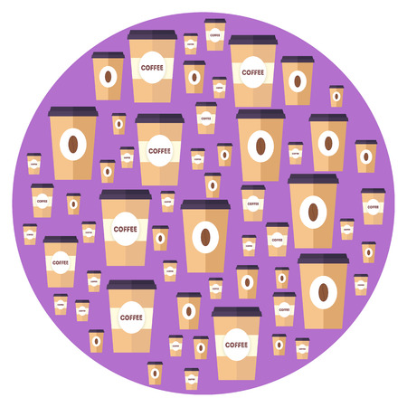 Flat paper coffee cup in circle. Large and small sizes. Coffee take away. Vector illustration