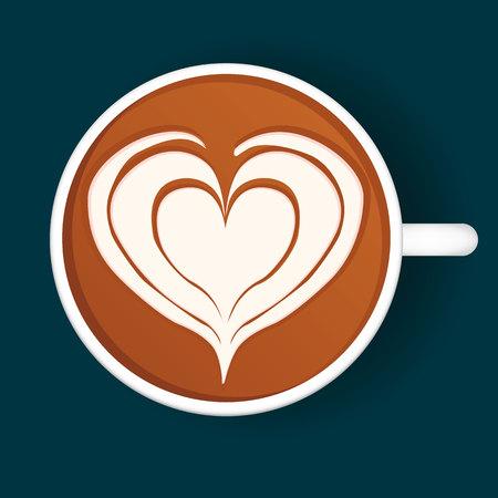 Geïsoleerde Latte Art. Witte Beker. Vector illustratie