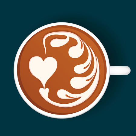 Isolated Latte Art. White Cup. Vector illustration