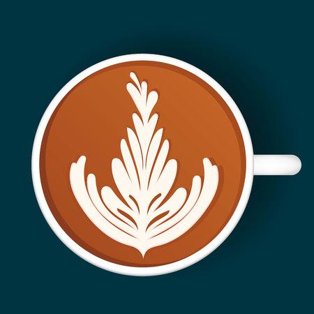Isolated Latte Art. White Cup. Vector illustration Vektorové ilustrace