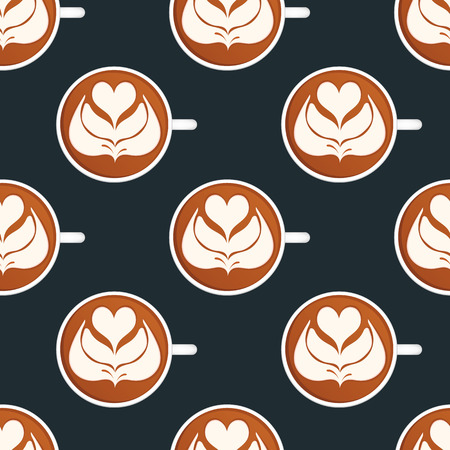 Latte Art. Seamless vector pattern
