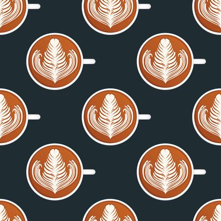 Latte Art. Seamless vector pattern