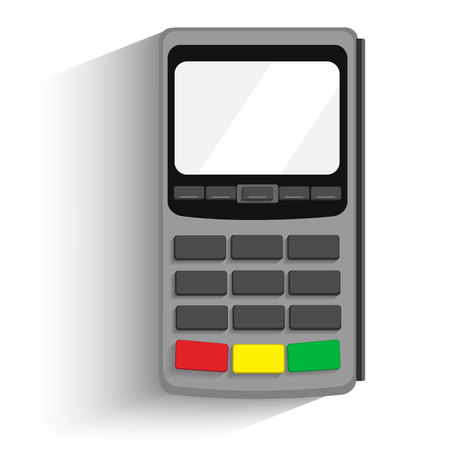 POS terminal vector icon in a flat style, isolated from the background. Payment using POS machines for credit and debit cards. Banking and business services.