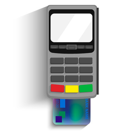 device: POS terminal vector icon in a flat style, isolated from the background. Payment using POS machines for credit and debit cards. Banking and business services.