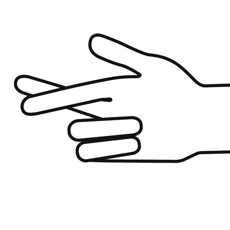 Gesture Stylized hand with two fingers crossed Vector illustration. Illustration