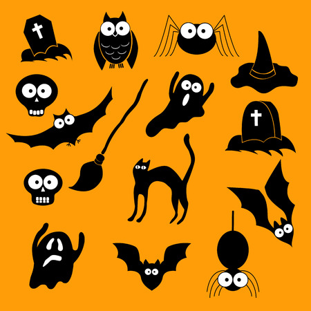 silueta de gato: Happy Halloween theme icon set. Vector illustration. Vectores