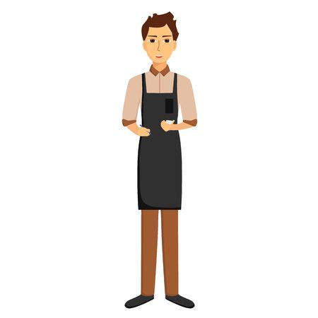 Waiter in apron isolated on white background. Taking order. Vector illustration