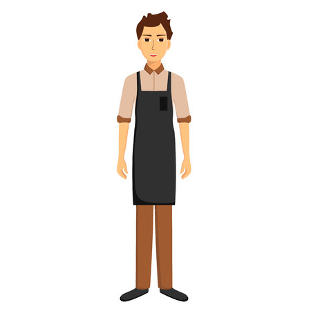 Waiter in apron isolated on white background. Vector illustration