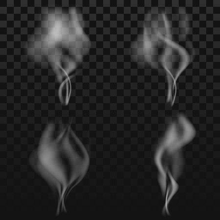 Conjunto de humo transparente sobre fondo oscuro Foto de archivo - 89694849