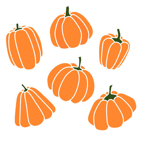 Pumpkins set. Silhouette on white background. Vector illustration