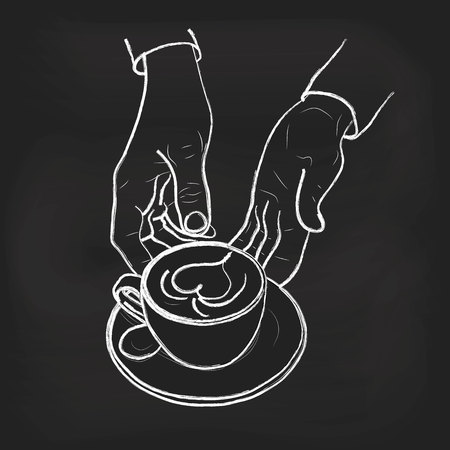 Barista hold cup and making latte or cappuccino art coffee with milk. Latte-art chalk illustration