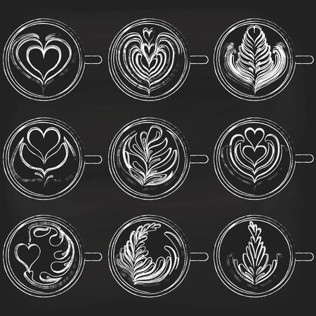 Isolated Latte Art on chalkboard background. White Cup. Vector illustration 向量圖像