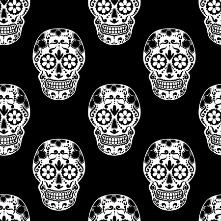 Day of The Dead colorful Skull with floral ornament. Seamless pattern. Mexican sugar skull. Vector illustration.