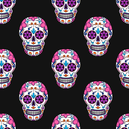 Day of The Dead colorful Skull with floral ornament. Seamless pattern. Mexican sugar skull. Vector illustration Vectores