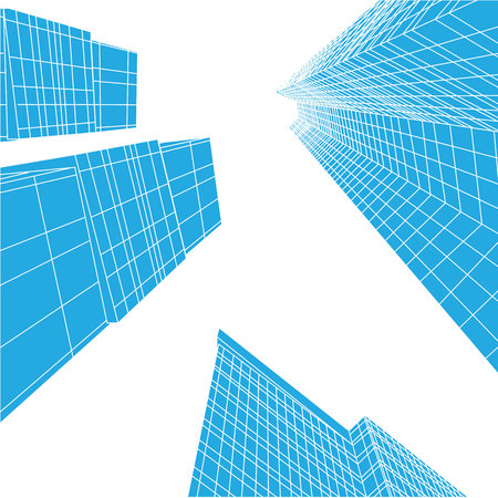 Skyscrapers of city, perspective from under the bottom, silhouette buildings, vector illustration. Business district Illustration