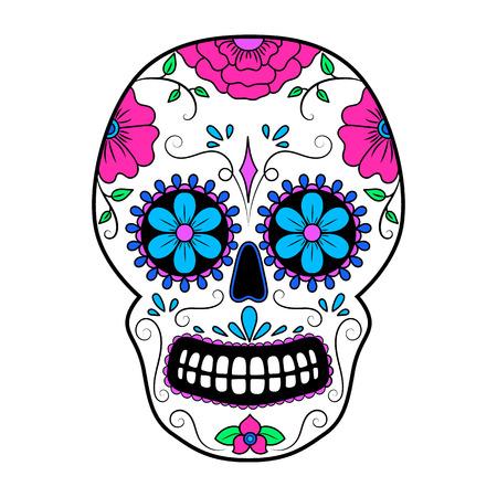 Day of The Dead Cranio colorato con ornamento floreale. Teschio messicano di zucchero. Illustrazione vettoriale Archivio Fotografico - 89679737