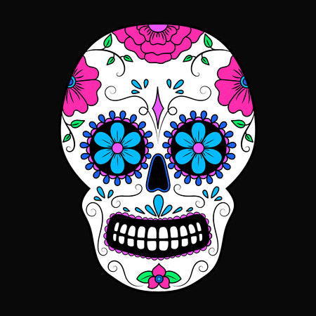 Day of The Dead colorful Skull with floral ornament. Mexican sugar skull. Vector illustration Иллюстрация