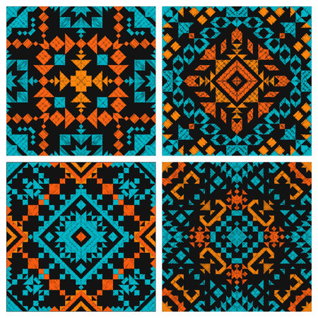 Tribal vector embroidery seamless pattern. Aztec fancy abstract geometric art print. Ethnic hipster backdrop. Wallpaper, cloth design, fabric, paper, cover, textile design template. Illustration