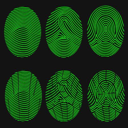 ide: Green fingerprint collection. Thumbprint set. Vector illustration Illustration