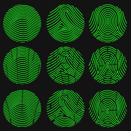 Green fingerprint collection. Thumbprint set. Vector illustration Illustration