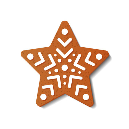 Gingerbread Christmas star isolated on white background. Gingerbread Cookies. Vector illustration