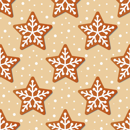 Gingerbread Christmas star seamless pattern. Gingerbread Cookies. Vector illustration