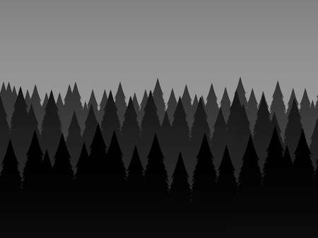 Dark forest. Trees. Abstract landscape background, vector illustration.