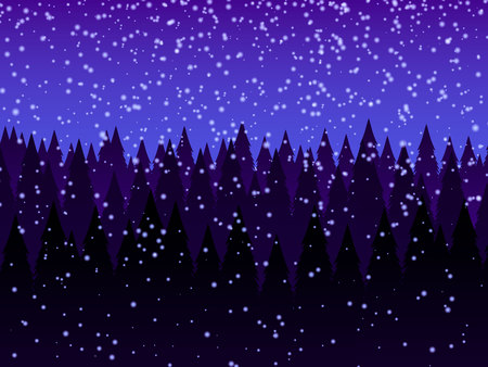 Dark forest. Trees, snowfall. Abstract landscape background, vector illustration. Illustration