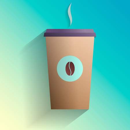 Coffee cup to go in flat style Ilustração