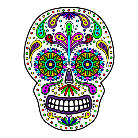 Day of The Dead colorful Skull with floral ornament. Mexican sugar skull. Vector illustration Vectores
