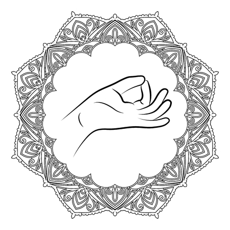 Hand in yoga mudra potion. Illustration