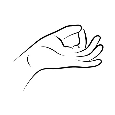 Hand in yoga mudra. Prithvi-Mudra isolated on white background. Vector illustration
