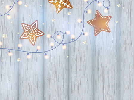 Christmas lights with gingerbread on wooden background. Vector illustration