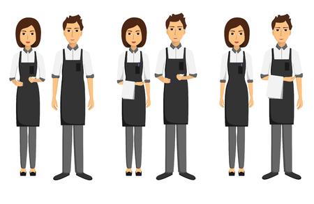 Set of waiters, girls and men written and with towels on their hands. Taking order. Vector flat illustration