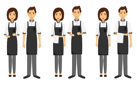 Zestaw kelnerów, dziewcząt i mężczyzn z napisem i ręcznikami na rękach. Przyjmowanie porządku. Płaskie ilustracji wektorowych